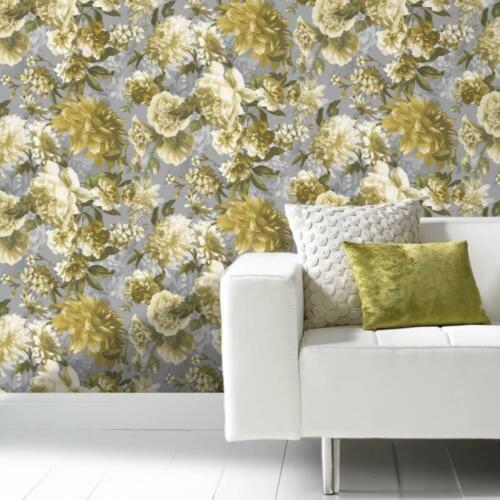 Secret Garden Floral Yellow Green Grey Wallpaper Flowers Roses Textured Grandeco