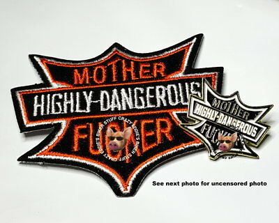 ARMED WITH A DANGEROUS MIND Biker Patch Embroidered Sew Iron on Rider Motorcycle