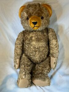ANTIQUE-BROWN-MOHAIR-amp-WOOD-WOOL-5-WAY-JOINTED-TEDDY-BEAR-e438