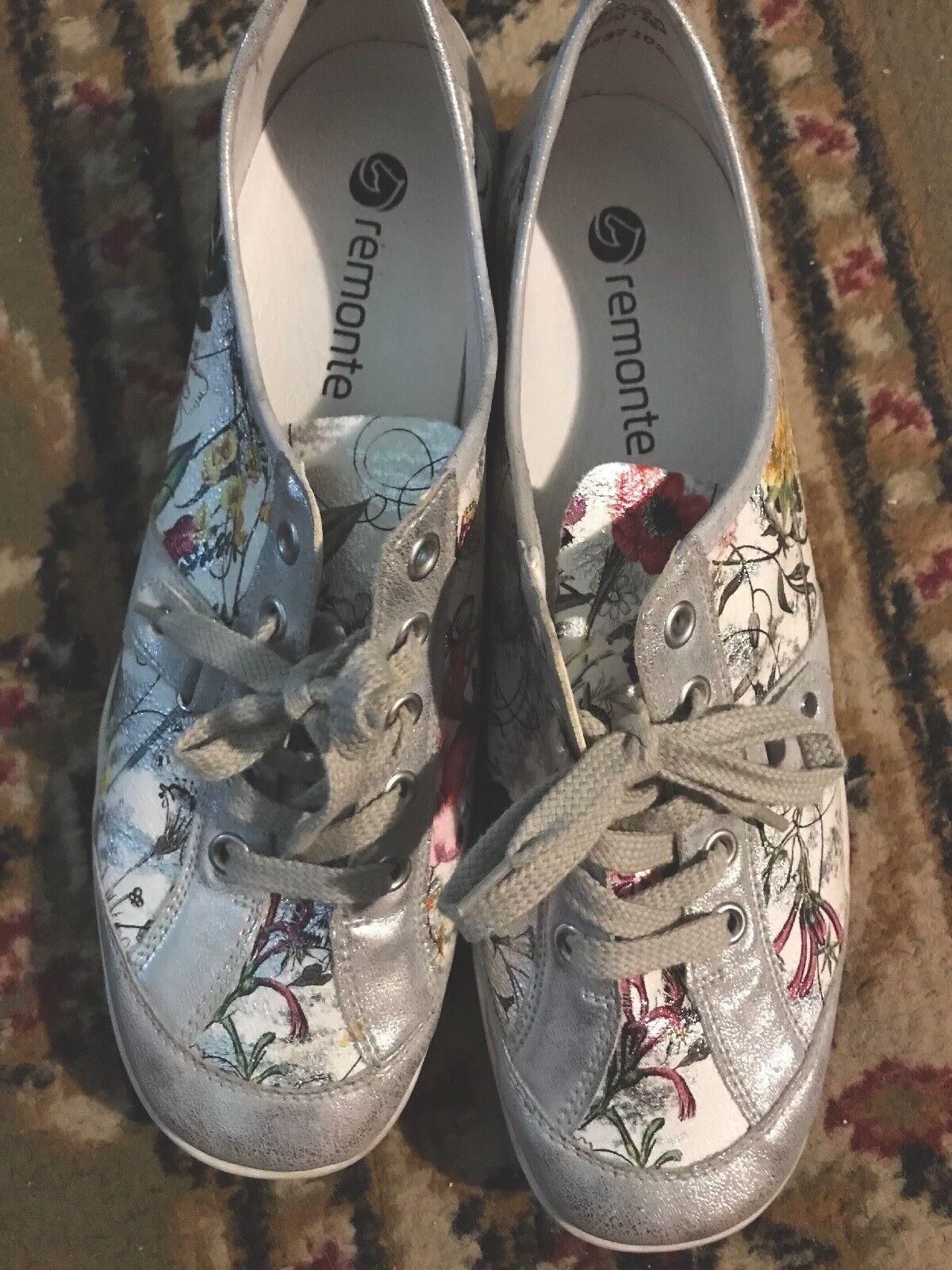 Leder Metallic Sz 'Remonte' Floral Lace Up Sneakers . Sz Metallic 10 - 10.5 26eb22