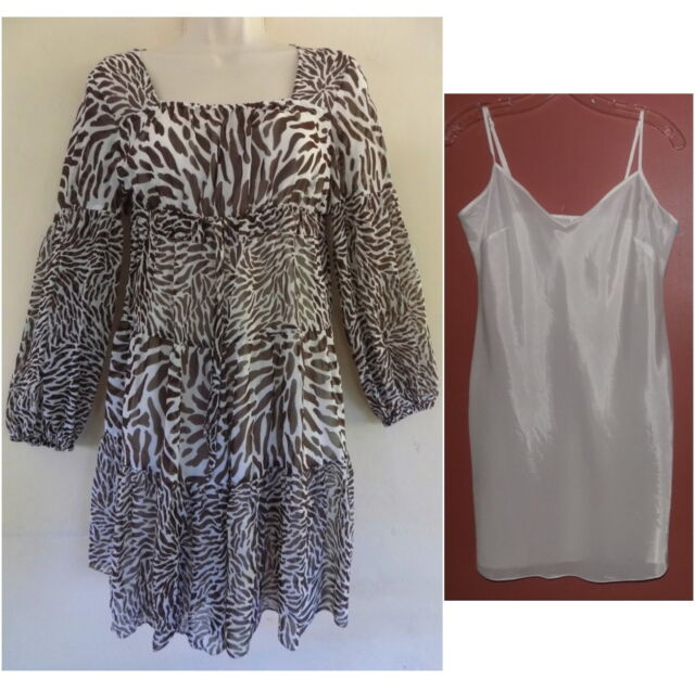 Michael Kors Dress and slip S Pure silk Animal print Brown White Empire Peasant