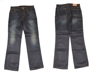 Nudie Slim Jim Glacier Bleu Indigo Jeans Jambe Droite Hommes Jean W34 L32