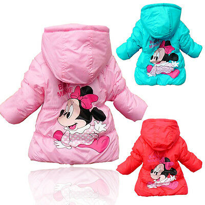 Mickey Minnie  Kid Baby Girls Snowsuit Long Sleeve Coat Cotton Outerwear Clothes