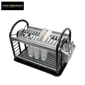 Plastic-Dish-Drainer-Round-2-Layer-Rack-Utensil-Cutlery-Draining-Grey-amp-Black