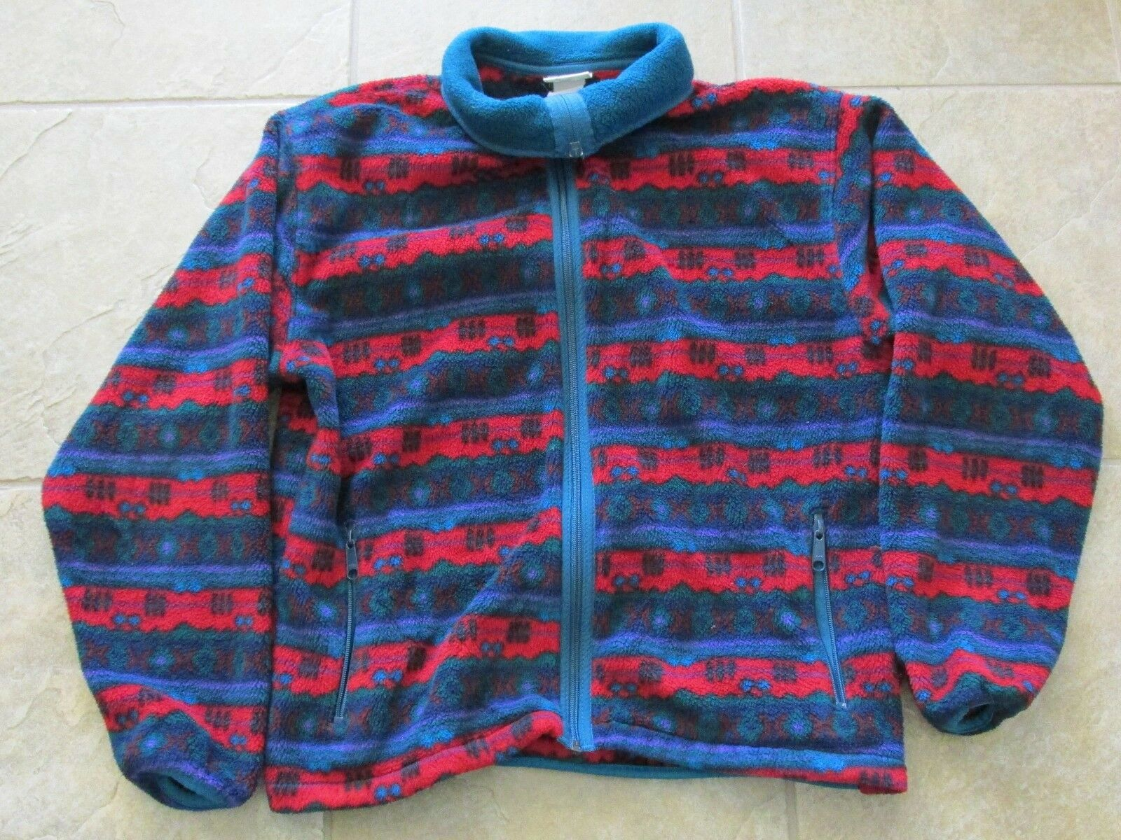 Women's Sz M Medium LL Bean Full Zip Aztec Fleece Red Teal Purple