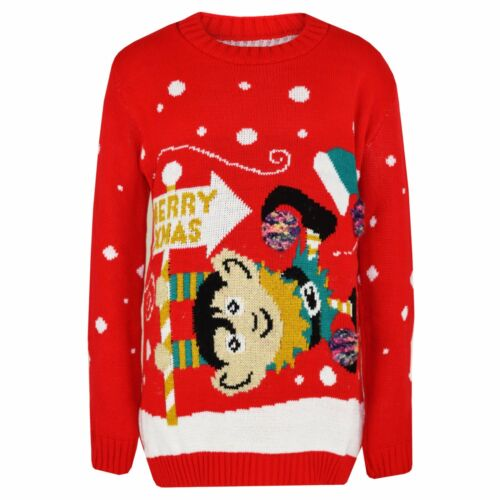 Girls Boys Kids Xmas Merry Christmas Tree Elf Rudolph Novelty Jumper Red Black