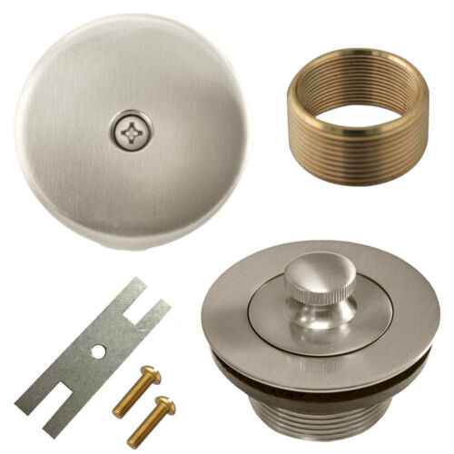 Brushed Nickel Lift and Turn Bathtub Drain Conversion Kit Assembly Overflow