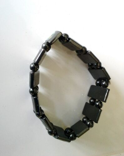 Details about  /Retro Bracelet 2 Strand Magnetic Hematite Beads Religious Images Stretch
