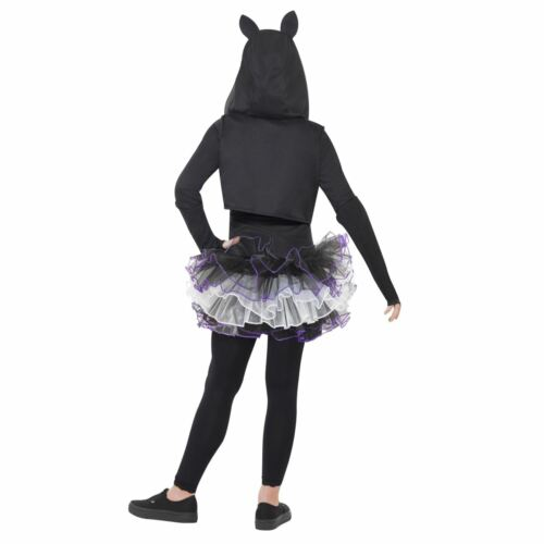 Girls Halloween Skelly Cat Costume with Tutu Hood Fancy Dress Animals Skeleton