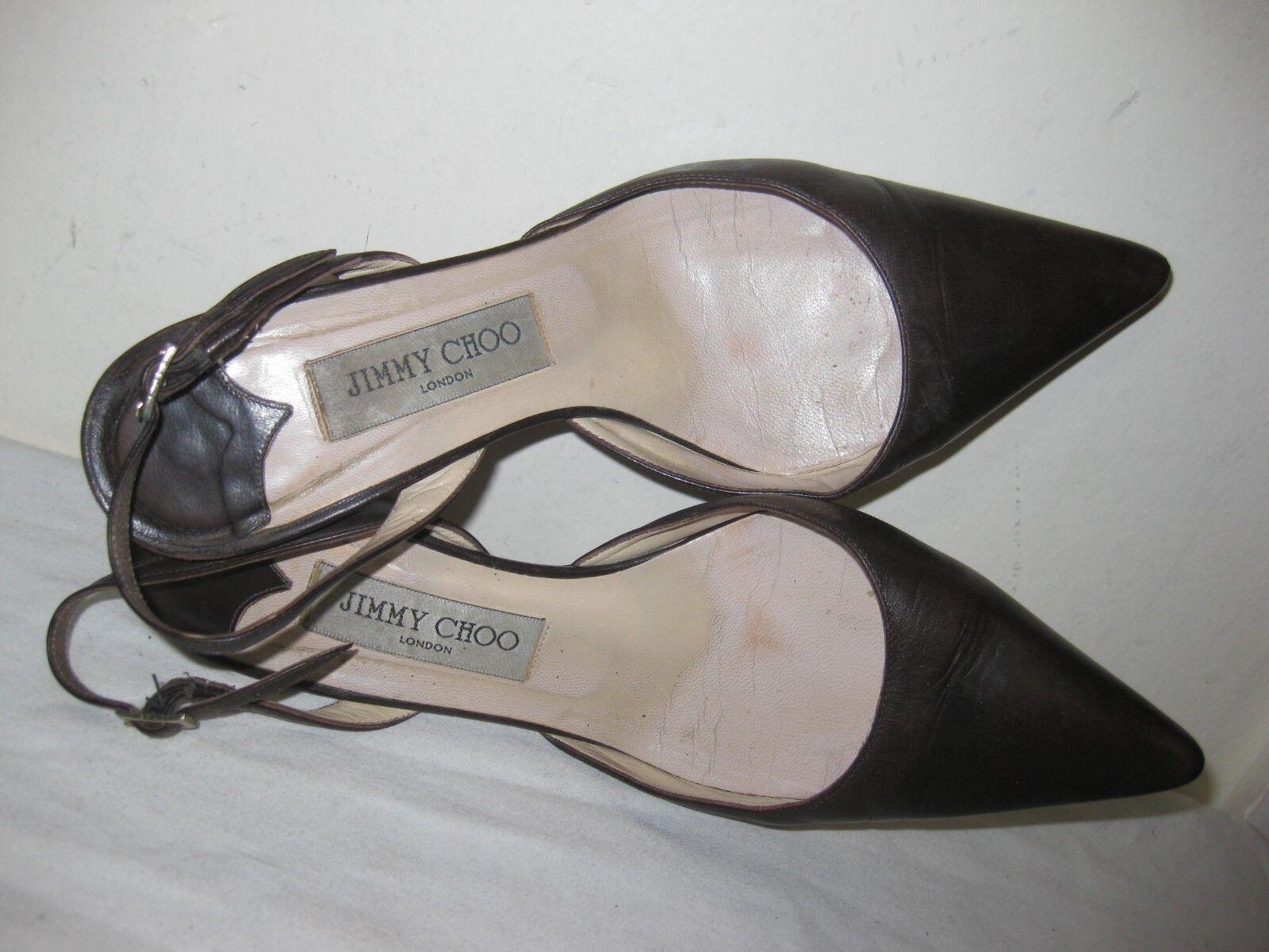 Jimmy Choo Blrown Leder Slingback Heels 7.5 Schuhes Größe 38 / 7.5 Heels 82fab2