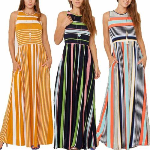 Damen Gestreift Sommerkleid Strandkleid Maxikleid Trägerkleid Urlaub Langkleid