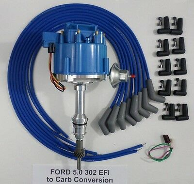 FORD 5.0L 302 EFI to Carb HEI Distributor & BLUE Universal Spark Plug Wires  USA | eBayeBay