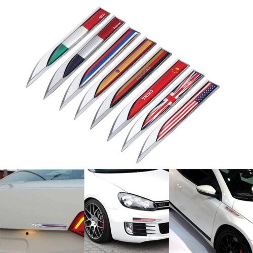 2pcs Car Country Flag Logo Emblem Stickers Side Fender Metal Decal Badge