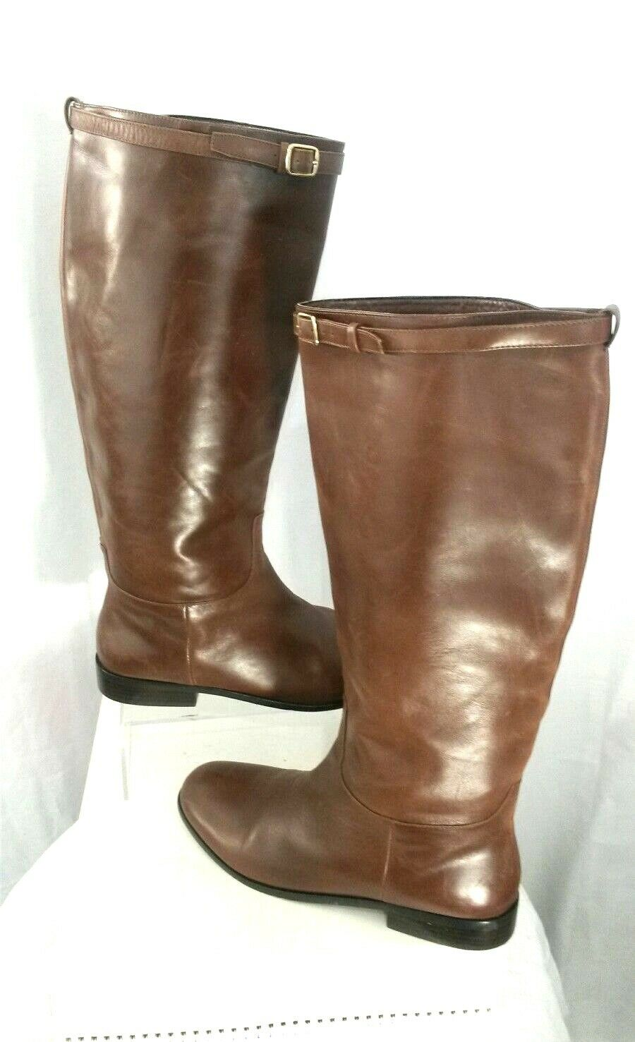 BANANA REPUBLIC Women 9M Medium Brown Leather Knee High RIDING BOOTS