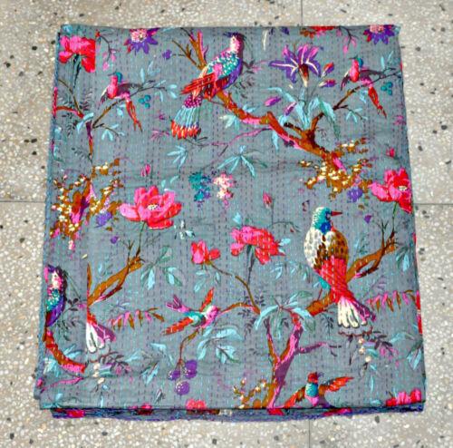 Bird Kantha Quilt Bedcover Bedspread in Gray Color Blanket Gray Kantha quilt