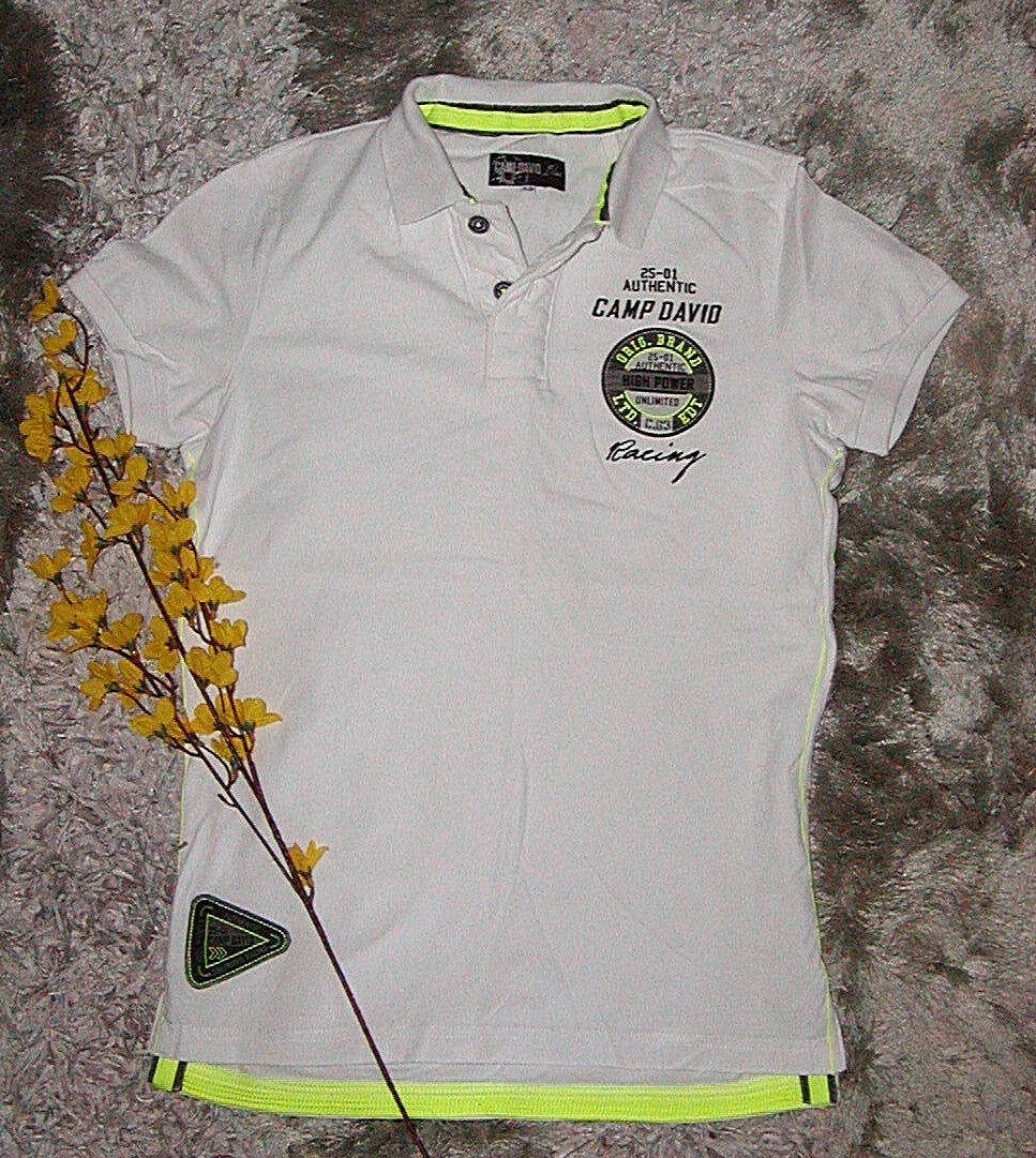 CAMP DAVID Polo-Shirt Gr. XS weiß NEU