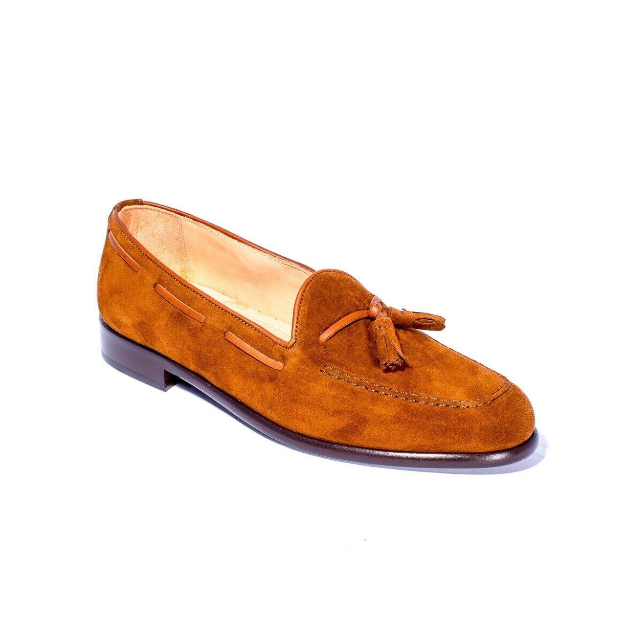 servizio di prima classe Zelli Franco Franco Franco Tobacco Marrone Suede Calfskin Loafer scarpe  moda