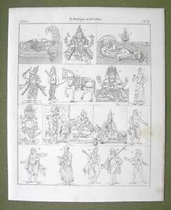 INDIA-Mythology-Gods-Vishnu-Buddha-Krishna-Lama-Monks-1825-Antique-Print