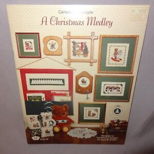 Christmas-Medley-Counted-Cross-Stitch-Pattern-Leaflet-Book-36-1985-Puppies-Cat