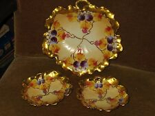 Three Piece Limoges GDA Heavy Gold  Handled Shallow Bowls France Hand Painted