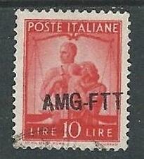 1949-50 TRIESTE A USATO DEMOCRATICA 1 RIGA 10 LIRE VARIETà SOPRASTAMPA- L1