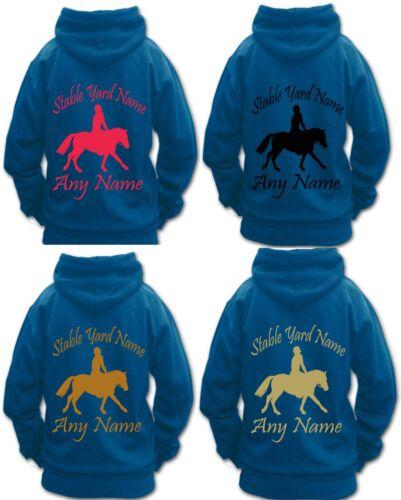 PERSONALISED BOYS GIRL HORSE RIDING HOODIE PLAITED SHOW PONY GYMKHANA PONY CLUB
