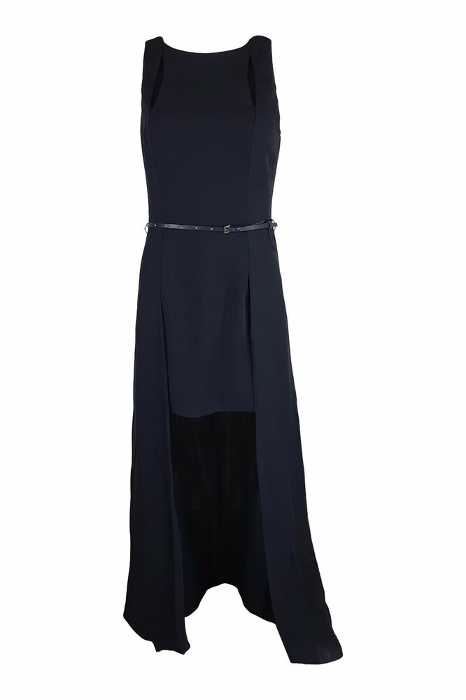 Halston Heritage Noir Hi-lo Sans Manches Robe Longue (8)