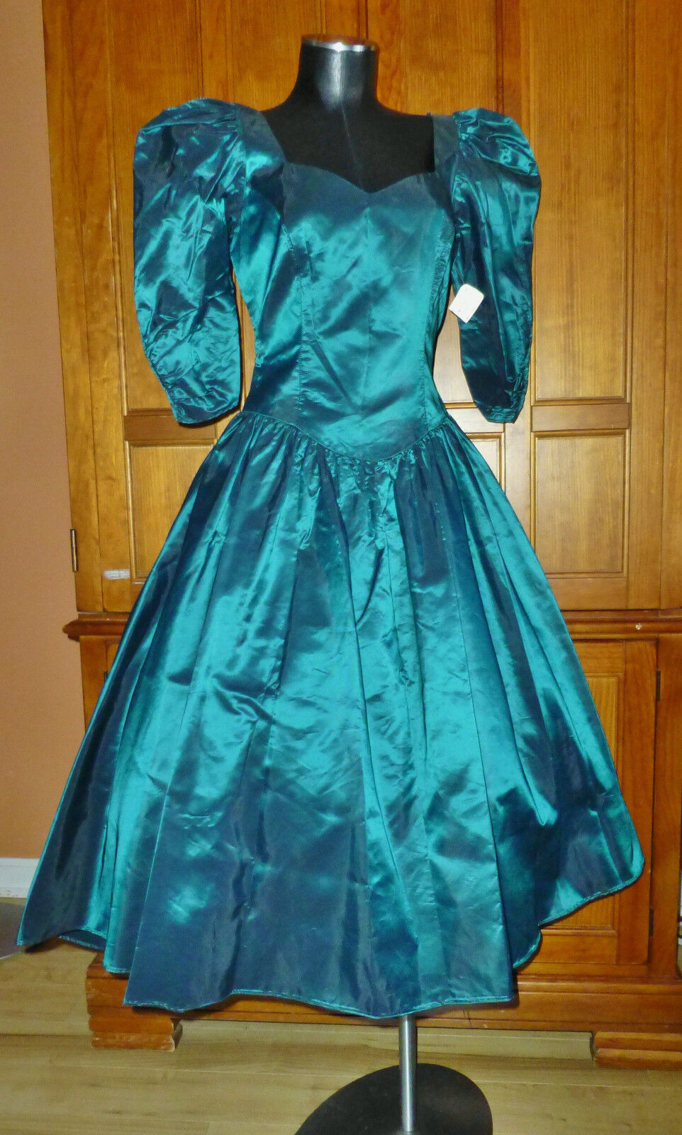 NEW wTAG Vtg 80s Alfred Angelo Crisp Taffeta Green Bow Formal Evening DRESS GOWN