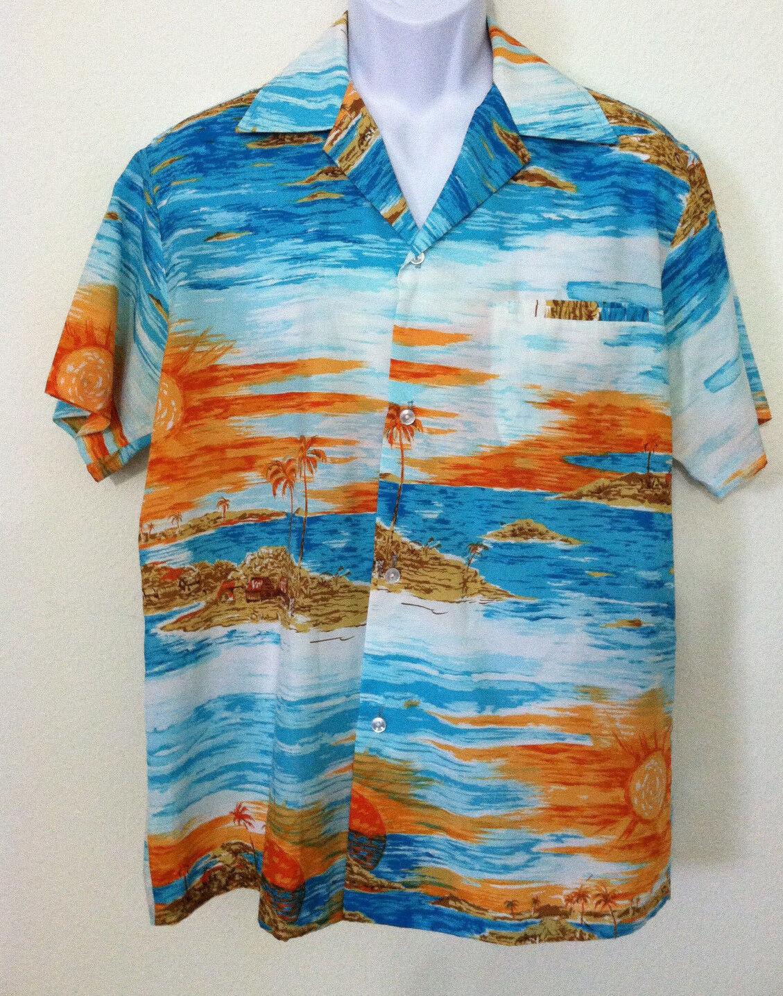 Vintage Rai Nani mens size M Hawaiian shirt orange bluee short sleeve sun island