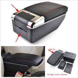 Black-PU-Leather-Double-Layer-Telescopic-Car-Central-Container-Armrest-Box-Case