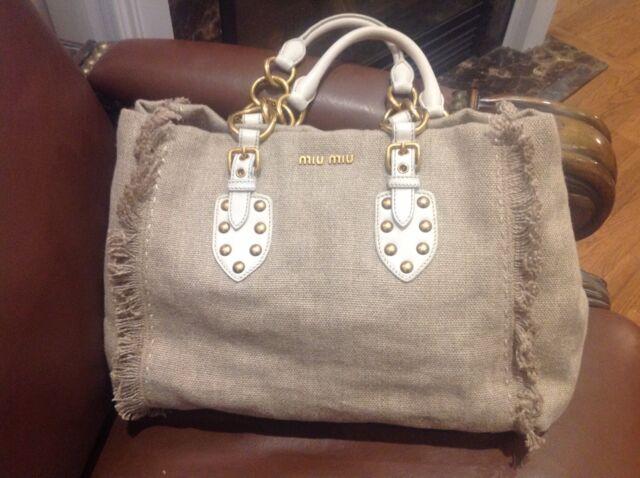 7816d83c4518 100% Authentic MIU MIU Logos Hand Bag Canvas Leather Beige White VTG NR08520