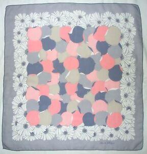 Vintage-JEHAN-de-FABREGUES-Paris-Signed-FLORAL-Gray-Pink-Blue-Chiffon-SCARF