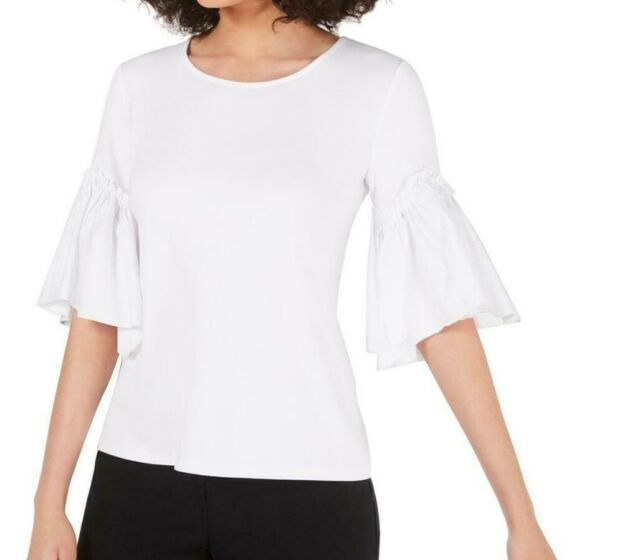 Alfani Women's Top White Size Large L Knit Bell-Sleeve Scoop-Neck $79- #258