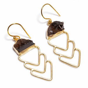 Raw-Gemstone-Handmade-Earrings-Gold-Plated-Brass-Fashion-Jewelry-BE330