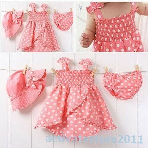 Baby Kids Girl Pink Dot Outfit Costume 3pcs Dress+Pants+Hat Set Clothes 0-36M