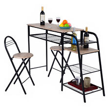 3 PC Pub Dining Set Table Chairs Counter Height Home Breakfast w/Storage Shelves