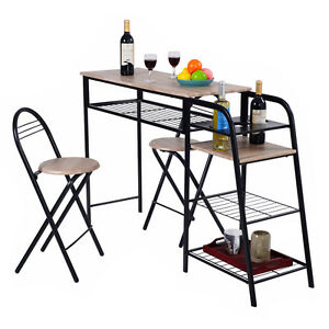 3 pc pub dining set table chairs counter height home breakfast w storage shelves ebay. Black Bedroom Furniture Sets. Home Design Ideas
