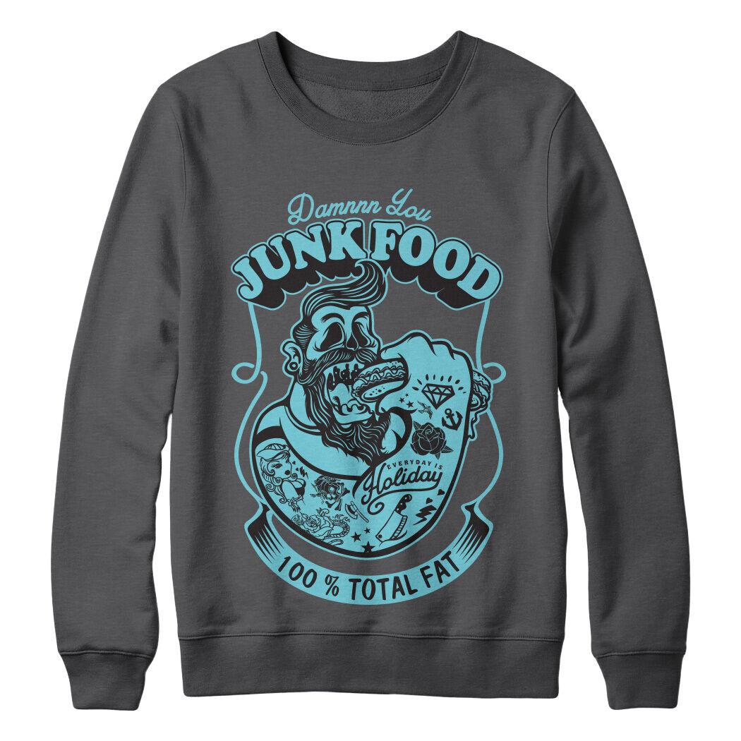 Damn vous junk food Parodie imprimé pull Hipster Drôle Parodie food Pull Homme Design Fille 893cdd