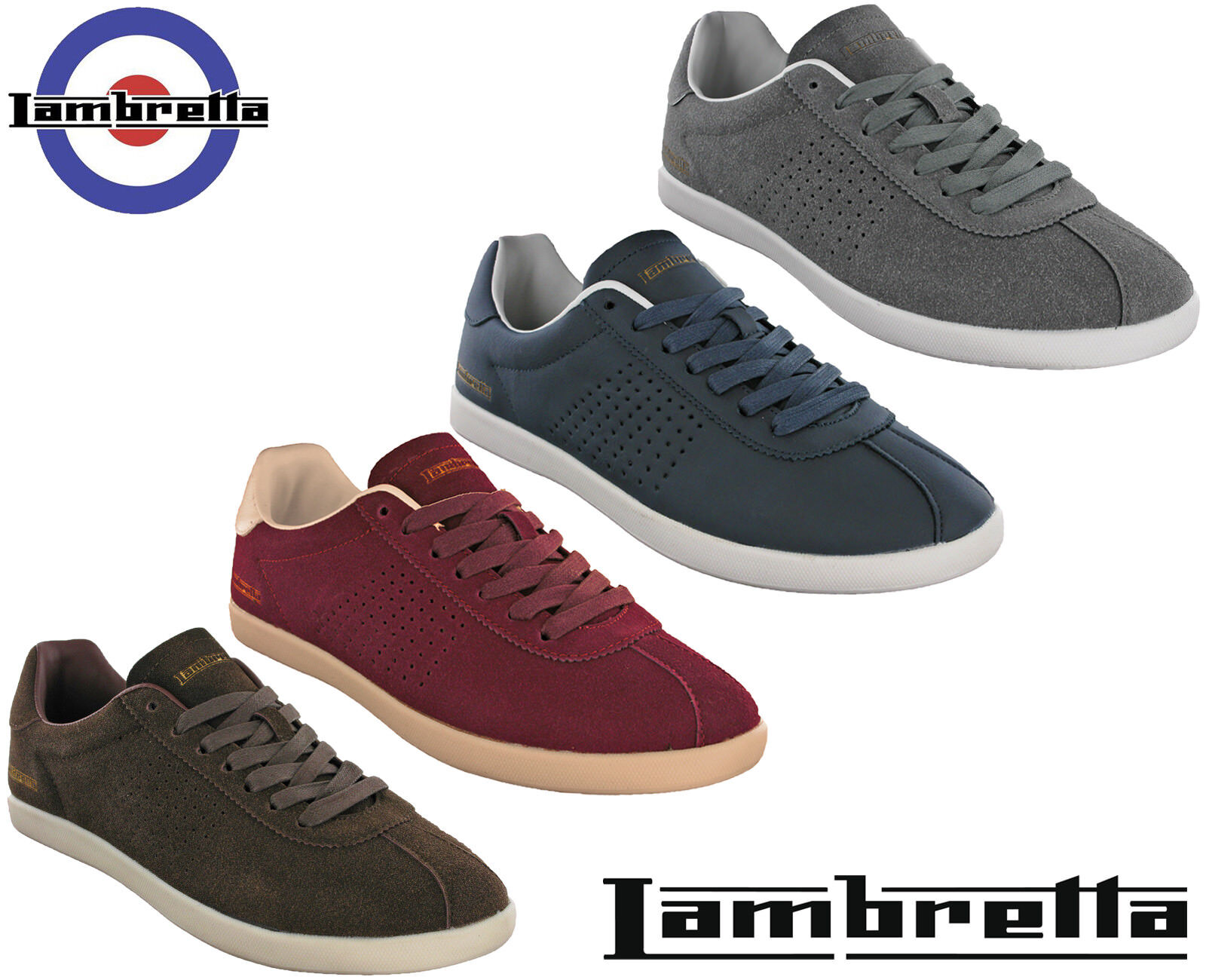 Lambretta   Herren Trainers Casual Sports Lace Memory Foam Gazzman Schuhes UK 7 - 12
