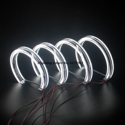 131MM+146MM Crystal LED Angel Eyes Halo Rings DRL For BMW E46 Non Projector