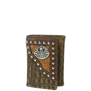 BROWN-SKULL-CROCODILE-LEATHERETTE-LOOK-TRIFOLD-WALLET-ID-HOLDER-WESTERN-COUNTRY