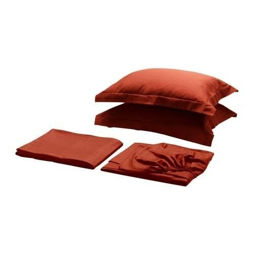 NEW IKEA VILA Fitted Flat Sheet Set With 2 Pillow Shams - King - Red orange