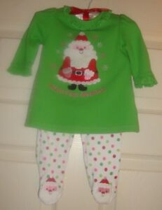 0/3/mo Quality And Quantity Assured @ Cute Active Okie/dokie~girl's~christmas/santa/baby's/first/xmas/pajama/set!