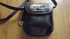 Vintage Brighton Black Leather Croc Design Crossbody Purse Handbag