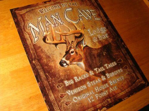 NEW MAN CAVE LODGE /& BAR Deer Buck Rack Hunting Hunter Cabin Home Decor Sign