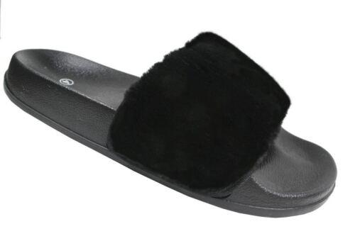 Enfants Filles Été Slider Fourrure Mule confortable Rihanna Chaussons Sandales Chaussures Taille 10-2