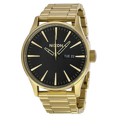 Nixon Sentry Black Dial Gold-tone Mens Watch A356510
