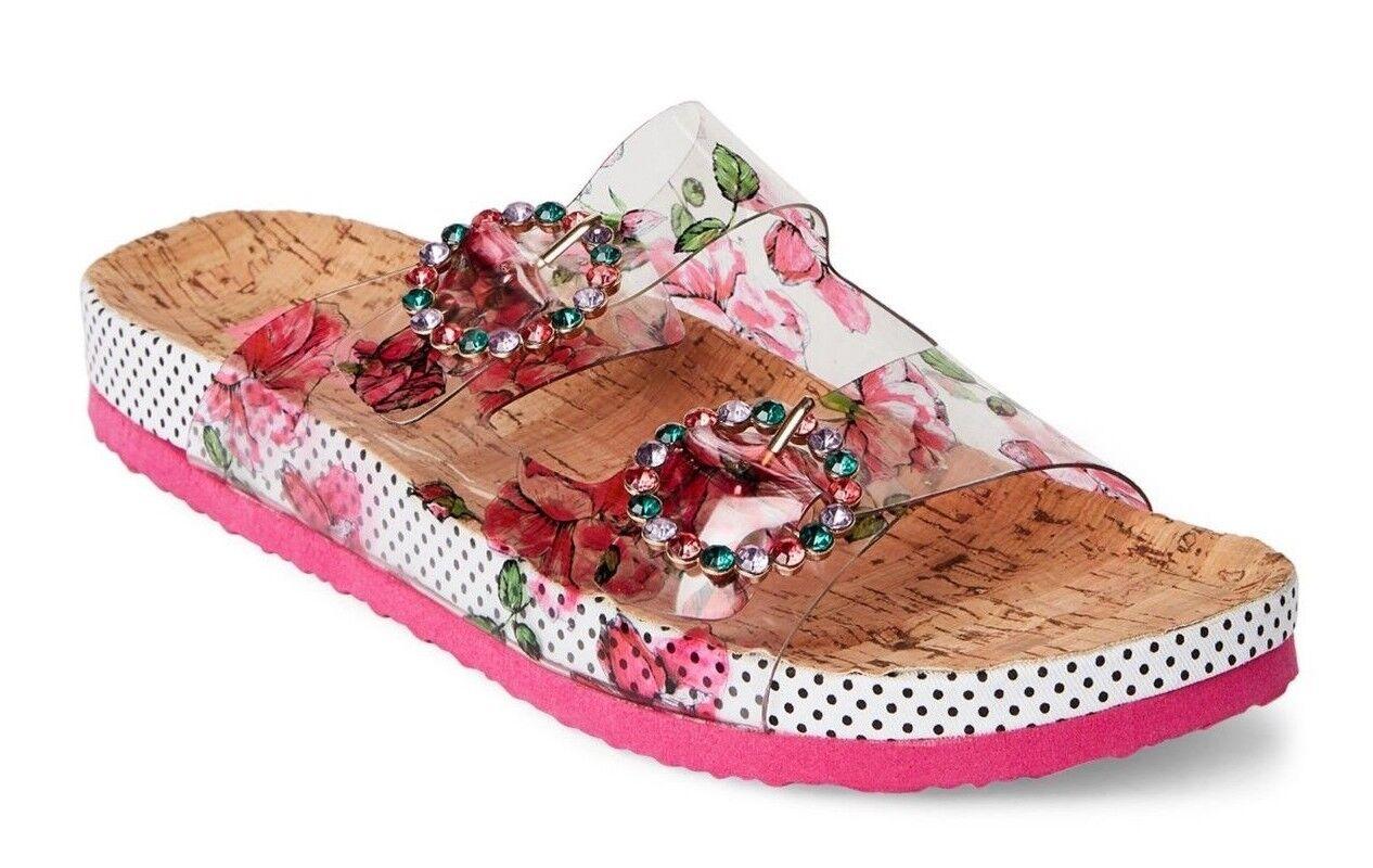 Betsey Johnson Misty Jeweled Dual Band Buckle Buckle Buckle Slide Sandales Pink Multi Größe 5.0 676480