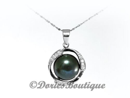 Elegant 8mm Dark Green Drop Shape Pearl CZ .925 925 Sterling Silver Pendant