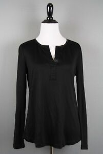 BANANA-REPUBLIC-45-Black-Sheen-Long-Sleeve-Long-Sleeve-Blouse-XS